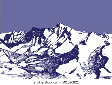 A hand drawn sketch of a Himalayas in blue colors. Can be used as an illustration for article about travelling, mountains, adventure, trecking, tourism.