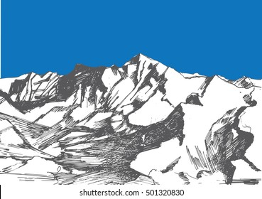 A hand drawn sketch of a Himalayas in grey and blue colors. Can be used as an illustration for article about travelling, mountains, adventure, trekking, tourism.