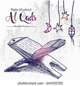 Hand Drawn sketch of Holy book of the Koran on the stand describe the Night of Lailatul Qadr for Ramadan Kareem, Eid al Fitr and Eid Al Adha Celebrating.Vector Illustration eps.10