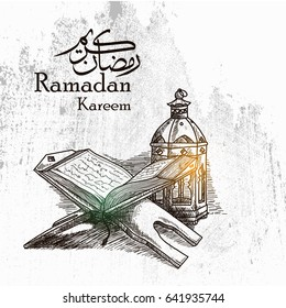 Hand Drawn sketch of Holy book of the Koran on the stand with grunge Background for Ramadan Kareem, Eid al Fitr and Eid Al Adha Celebrating.Vector Illustration eps.10
