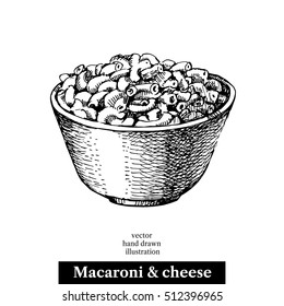 Hand drawn sketch homemade macaroni and cheese in a bowl. Vector black and white vintage illustration. Isolated object on white background. Menu design