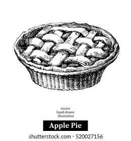 Hand drawn sketch homemade organic apple pie dessert. Vector black and white vintage illustration. Isolated object on white background. Menu design