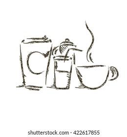 Hand drawn sketch hot drink set vector illustration