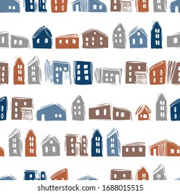 Hand drawn sketch  houses on white background.  Vector  seamless pattern.