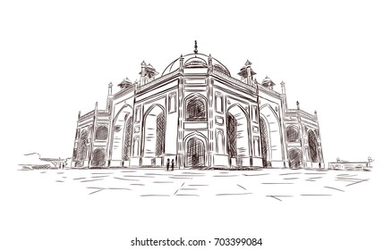 Hand drawn sketch of Humayun's Tomb at New Delhi in vector illustration. Historical place in New Delhi, India.