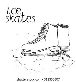 Hand drawn sketch ice skates. Drawing Sport doodle element winter sports items. on chalkboard background.