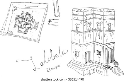 Hand drawn sketch illustration architecture landmark of Rock-Hewn Churches, Lalibela, Ethiopia with lettering vector