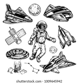 Hand drawn sketch illustration astronaut and spaceship on a white background
