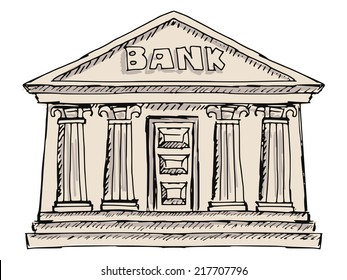 hand drawn, sketch illustration of bank