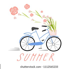 Hand drawn sketch illustration of bicycle. Image of a blue Bicycle, in a basket of flowers.