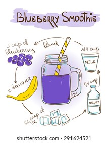 Hand drawn sketch illustration with Blueberry smoothie recipe. Including recipe and ingredients for restaurant or cafe. Healthy lifestyle concept.