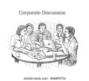 Hand drawn sketch illustration of Businessmen doing Corporate meeting discussion, planning and teamwork.
