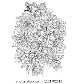Hand drawn sketch illustration of butterfly and flower for adult coloring book, T-shirt emblem, logo or tattoo, zentangle design elements. Zentangle stylized cartoon isolated on white background.