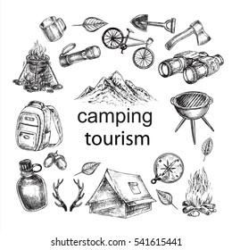 hand drawn sketch illustration camping items