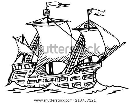 hand drawn sketch illustration caravel stock vector royalty free Caravel Ship Columbus hand drawn sketch illustration of caravel