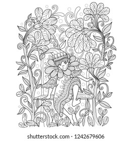 Hand drawn sketch illustration of Elf in the garden for adult coloring book, T-shirt emblem, logo or tattoo, zentangle design elements. Zentangle stylized cartoon isolated on white background.