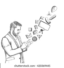 Hand Drawn sketch illustration of handsome young man checking email, chatting, internet browsing, on Mobile against a white background