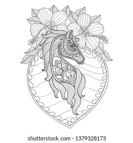 Hand drawn sketch illustration of Horse and hibiscus flowers for adult coloring book, T-shirt emblem, logo or tattoo, zentangle design elements. Zentangle stylized cartoon isolated on white backgroun