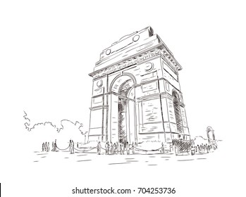 Hand drawn sketch illustration of India Gate, 42 meter high, eastern end of the Rajpath, New Delhi, Delhi, India, Asia in vector.
