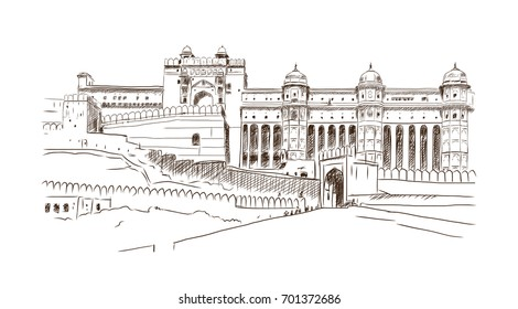 Hand drawn sketch illustration landmark of Amber Fort, Jaipur, India.