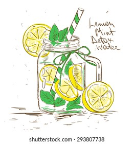 Hand drawn sketch illustration with Lemon Mint Detox water. Healthy lifestyle concept.