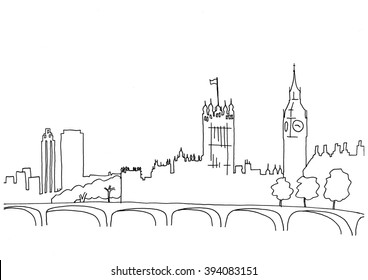 Hand drawn sketch illustration of London landscape including Big Ben and Houses of Parliament