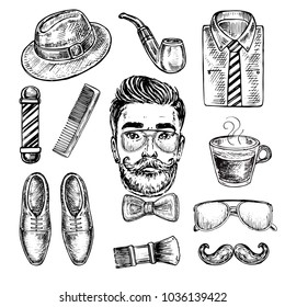 Hand drawn sketch illustration with men's Accessories