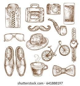 hand drawn sketch illustration of men's accessories