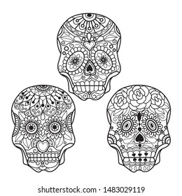 Hand drawn sketch illustration of Mexican skull for adult coloring book, T-shirt emblem, logo or tattoo, zentangle design elements. Zentangle stylized cartoon isolated on white background.