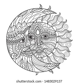 Hand drawn sketch illustration of moon and sun for adult coloring book, T-shirt emblem, logo or tattoo, zentangle design elements. Zentangle stylized cartoon isolated on white background.