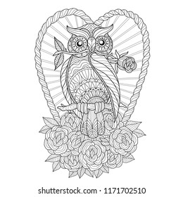 Hand drawn sketch illustration of owl and heart for adult coloring book, T-shirt emblem, logo or tattoo, zentangle design elements. Zentangle stylized cartoon isolated on white background.