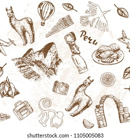 Hand drawn sketch illustration Peru. Travel set seamless pattern