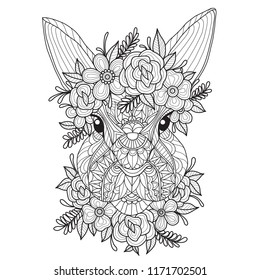 Hand drawn sketch illustration of rabbit and flower for adult coloring book, T-shirt emblem, logo or tattoo, zentangle design elements. Zentangle stylized cartoon isolated on white background.