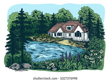 Hand drawn sketch illustration with rustic landscape, lake, house and pine trees