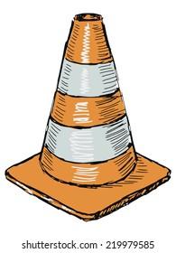 hand drawn, sketch illustration of traffic cone