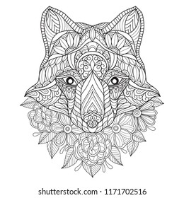 Hand drawn sketch illustration of wolf and flower for adult coloring book, T-shirt emblem, logo or tattoo, zentangle design elements. Zentangle stylized cartoon isolated on white background.