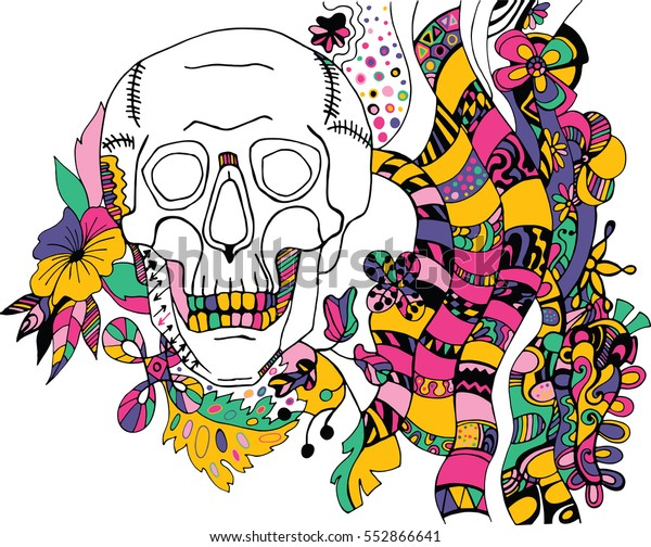 Hand drawn  sketch with ink skull. Coloring book page illustration. Print for T-shirt or tattoo.
