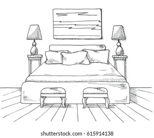 Hand drawn sketch of  interior. Line bedrooms Vector illustration.