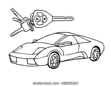 hand drawn sketch italian car car stock vector royalty free Future Technology Cars hand drawn sketch italian car with car keys vector design concept illustration