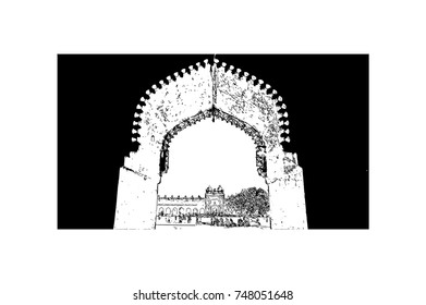 Hand drawn sketch of Jamma Masjid (Mosque), Fatehpur Sikri, Uttar Pradesh
