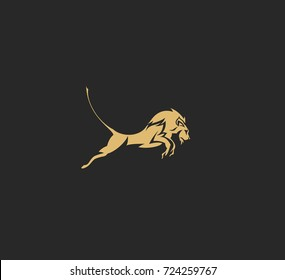 Hand drawn sketch of jumping lion, power, strength, king, zoo, mammal, dangerous, vector illustration