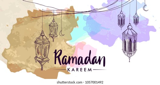 Hand drawn Sketch of lantern for ramadan greetings card with watercolor Background. Vector Illustration