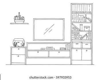 Hand drawn sketch. Linear sketch of the interior. Bookcase, dresser with TV and shelves. Vector illustration