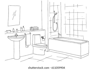 Hand drawn sketch. Linear sketch of an interior. Part of the bathroom. Vector illustration