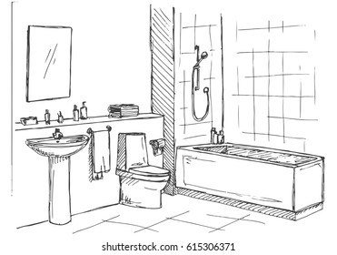 Bathroom Drawing Images Stock Photos Vectors Shutterstock - Drawing of bathroom