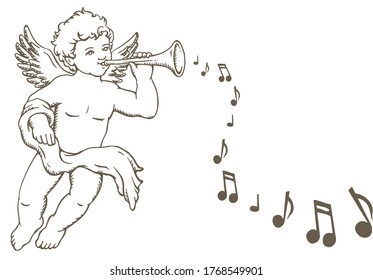 Hand drawn sketch of little angel playing music instrument, with music notes