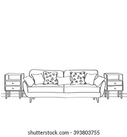 Hand drawn sketch of living room interior with a sofa, pillows and nightstands.