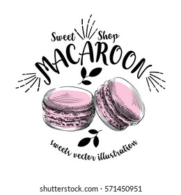 Hand drawn sketch macaroons isolated on a white background with inscription around. Objects for design. French dessert. Cute macaroon with doodles. Sweets vector illustration.