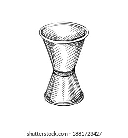 Hand drawn sketch of Measuring cup, jigger on a white background. Black and white sketch of jigger for shots, Bar inventory