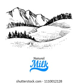 Hand drawn sketch milk products background. Vector black and white vintage illustration of country landscape